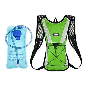 [KuYou]Hydration Pack Water Rucksack Backpack Bladder Bag Cycling Bicycle Bike/Hiking Climbing Pouch + 2L Hydration Bladder,(Green+Water Pouch)