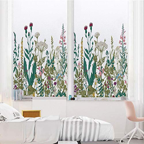 - Flower Decor 3D No Glue Static Decorative Privacy Window Films, Flowers Leaves in a Spring Garden with Daisies Roses Hydrangeas Art Print,24