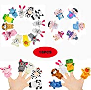 18 Pack Finger Puppets Set ,Plush Soft 12 Animals + 6 People Family Finger Puppets for Kids Toddlers Baby Stor