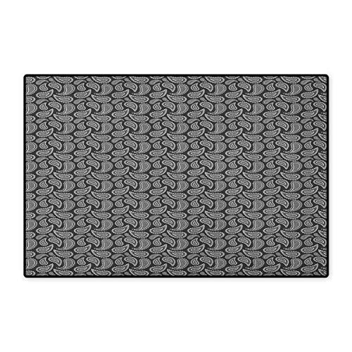 (Ethnic,Door Mats Area Rug,Leaf Paisley Classic Eastern Oriental with Victorian Effects Iranian Motif,Door Mat Doorroom Mat with Non Slip,Charcoal Grey White,Size,24
