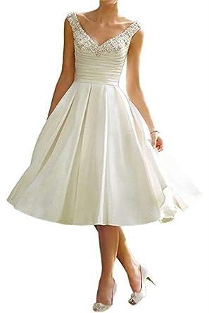 a48db274f05a23 Cloverbridal Elegant Elfenbein Kurz A-Linie V-Ausschnitt Hochzeitskleid  Brautkleider Strasssteine Stickerei Brautkleid mit Tasche: Amazon.de:  Bekleidung