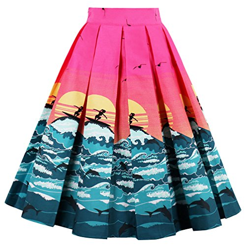 Dressever Women's Vintage A-line Printed Pleated Flared Midi Skirts Sea-Sun Small