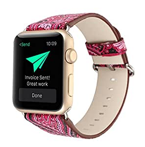 Wonlex Apple Watch Band Leather Watch Strap Wristband for Apple iWatch 1 2 Sports&Edition, Stylish Chinoiserie National Tattoo Pattern Style (38mm Rose Tattoo)