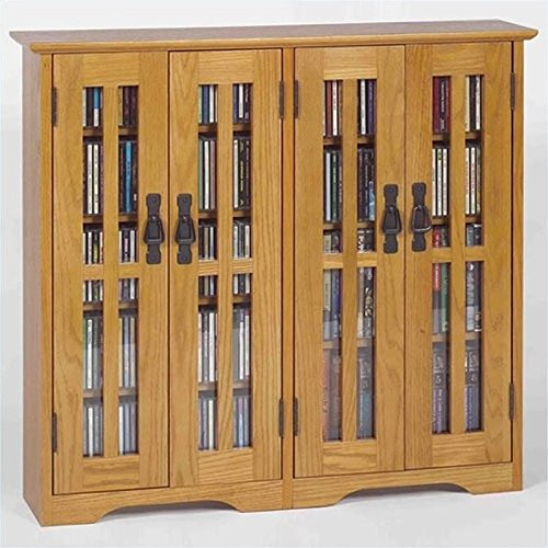 Leslie Dame M-380 Wall Mounted Mission Style Media Storage Cabinet, Oak by LDE LESLIE DAME