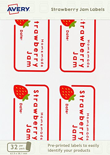 Avery ASJL01 63.5 x 38.1 mm Pre-Printed Strawberry Jam Jar Label - White (Pack of 32)