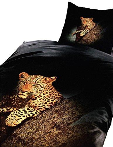 6 teilig Microfaser Bettwäsche 135 x 200 cm Garnitur Sparset Leopard schwarz / gelb Tiermotiv mit Reißverschluss Premiumdruck Fotodruck Spannbettlaken