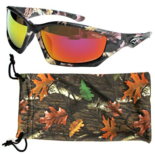 VertX Men's Polarized Camo Sunglasses Sport Cycling Running Outdoor w/ Microfiber Camo Pouch – Camouflage Pattern Orange - Camo Sunglasses Orange
