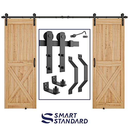 10 FT Heavy Duty Double Gate Sliding Barn Door Hardware Kit, 10ft Double Rail, Black, (Whole Set Includes 2x Pull Handle Set & 2x Floor Guide & 1x Latch Lock) Fit 30