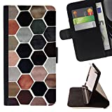 Planetar Colorful Pattern Flip Wallet Leather Holster Protective Skin Case Cover For SAMSUNG Galaxy S5 V / i9600 / SM-G900 ( Honeycomb Make Up Earthy Pastel Tones )