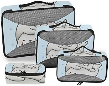 漫画の手描きシール荷物パッキングキューブオーガナイザートイレタリーランドリーストレージバッグポーチパックキューブ4さまざまなサイズセットトラベルキッズレディース