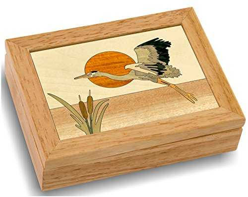 MarqART Wood Art Heron Box – Handmade USA – Unmatched Quality – Unique, No Two are The Same – Original Work of Wood Art…