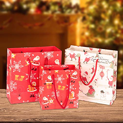 Christmas Gift Bags 18 Pcs Bulk Set with 18 Gift Cards Ideal for Christmas Party Gift Wrapping