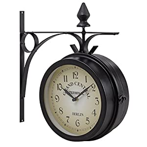 giantex double sided wall clock vintage antiquelook mount station garden hallway home dcor wall hanging metal clock