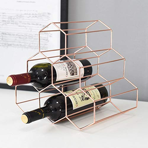 Ocamo 3-Tier Wine Rack Stand Geometric Wine Rack Metal Simple Household Grape Wine Rack Restaurant Living Room Bar Wine Cabinet Wine Display Plating Rose Gold ()