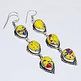19.8Gram Yellow Mosaic Jasper 11x14mm 925 silver Plated Earring Silverart Jewelry