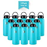 qottle 12Pack 32oz Stainless Steel Double Wall Vacuum Insulated Water Bottles - Portable Handheld Flask-Aqua Blue