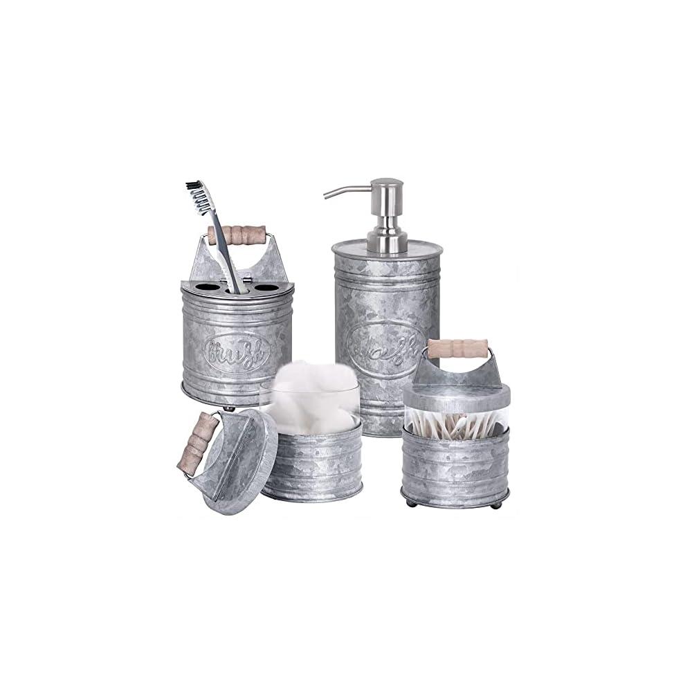 Autumn Alley Rustic Farmhouse Galvanized Bathroom Accessories Set (4 PCS) - Lotion Soap Dispenser, Toothbrush Holder, 2…