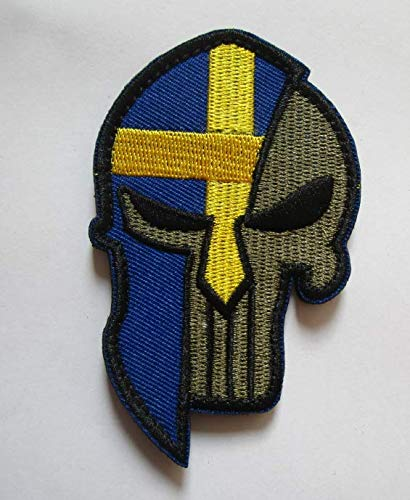 (Sweden Flag & Punisher & Spartan Molon Labe Halloween Military Patch Fabric Embroidered Badges Patch Tactical Stickers for Clothes with Hook &)