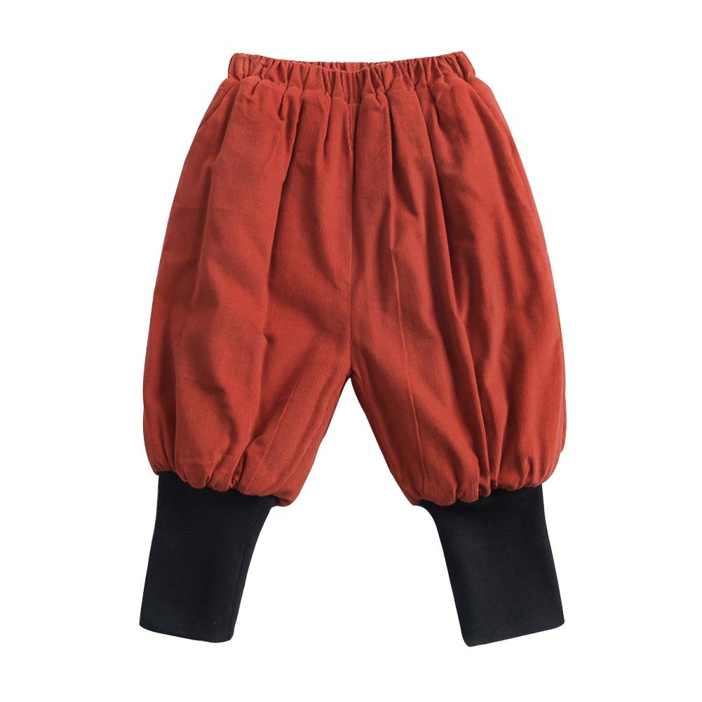 Gyratedream Baby Trousers Boys Girls Corduroy Bloom Pants Autumn Winter Plus Velvet Thickening Warm Cotton Trousers for 0-6 Years Kids