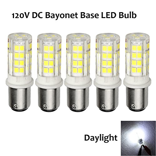 Ashialight Ba15d LED Bulb 12 Volt DC Bayonet Base Equal 35 Watt Halogen Bulb Daylight Replace JD Type T3/T4 Bulb (Pack of 5) ()