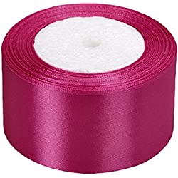 Vsolucky Satin Ribbon 50mm Width 25Yards Wedding Birthday Party Favors Art Crafts Sewing Gift Wrapping Decor (Fuchsia)