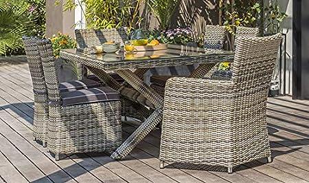 House and Garden Bali - Salón de jardín (Resina Trenzada, 6 plazas): Amazon.es: Hogar