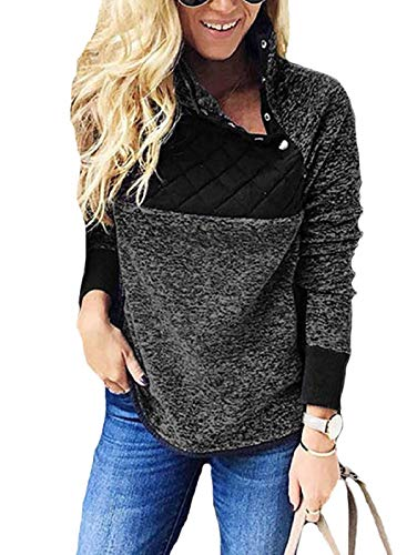 SHIBEVER Womens Plus Fleece Sweatshirt Long Sleeve Oblique Button Geometric Pattern Pullover Coats Jackets Outwear Black L
