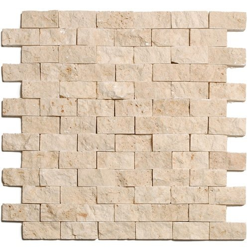 Light 1 X 2 Split Face Travertine Mosaic (Cream Mosaic Tiles)