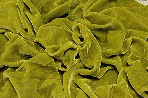 Pistachio Green Plush Silk Velvet Upholstery Apparel Fabric - BTY - 44