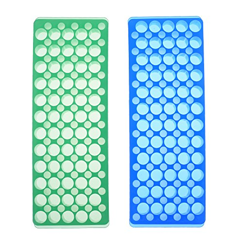BCP 2 Pcs 60 Holes Polypropylene Microcentrifuge PCR Tube Rack for Tubes 0.2ml 0.5ml 1.5ml (Pcr Polypropylene Tubes)