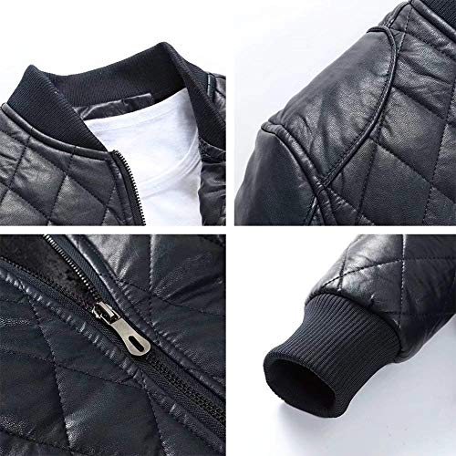 Autumn Coat Jacket Men's Windbreaker Clothing Down Biker Slim Padded Fit Pu Zippered Warm Leather Winter Dark Sizes Quilted Blue fashion HX Fur Comfortable Outerwear IZ5xwqpXHn