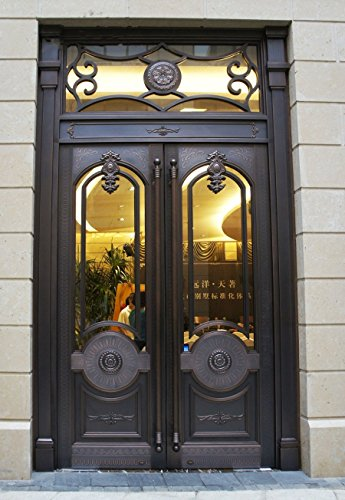 136 Victorian Style European-style Door Pull Copper Antique Bronze Classical Style Entrance Entry Store Front Solid Wood Timber Glass Door Pull Push Handlesets Double-sided (40 Inches /1000x51mm) (Front Door Glass Panels)