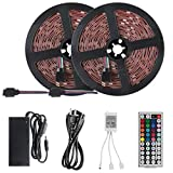 Laimante 32.8ft Led Light Strip Kit, DC12V 5050 RGB 300LEDs Color Changing led Rope Lights, Extra Adhesive 3M Tape with Remote and UL Listed Power Supply for TV, Ceiling, Bedroom, Under Cabinet Light