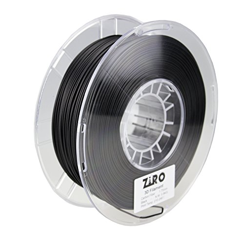 ZIRO 3D Printer Filament Carbon Fiber PLA 1.75mm 0.8KG Spool - Black by ZIRO
