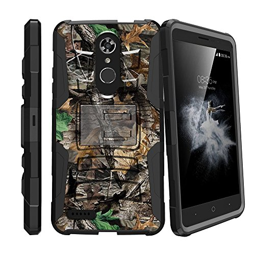 Shockproof Dual Layered Case w/Kickstand Cover + Holster Clip Compatible with ZTE Max XL/ZMAX Pro/Blade Max 3 / Blade X Max (Z981/Z983/Z986/N9560) - Hunting Tree Camo