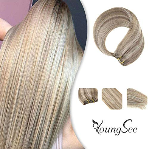 YoungSee 22inch Double Weft Human Hair Extensions Clip in Ash Blonde Highlighted with Blonde Hair Extensions Clip on Highlighted Blonde Human Hair Extensions 120g/7pcs (Human Hair Extensions 200g)