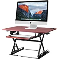 Halter ED-257 Pre-Assembled Height Adjustable Desk Sit with Built-in Cable Management (Cherry)
