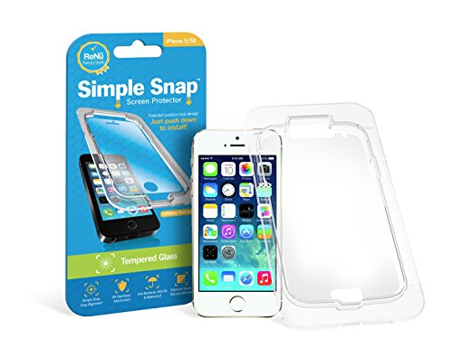 Simple Snap® Tempered Glass Screen Protector for Apple iPhone 5/5S High Definition (HD) Oleophobic - Maximum Clarity and Touchscreen Accuracy