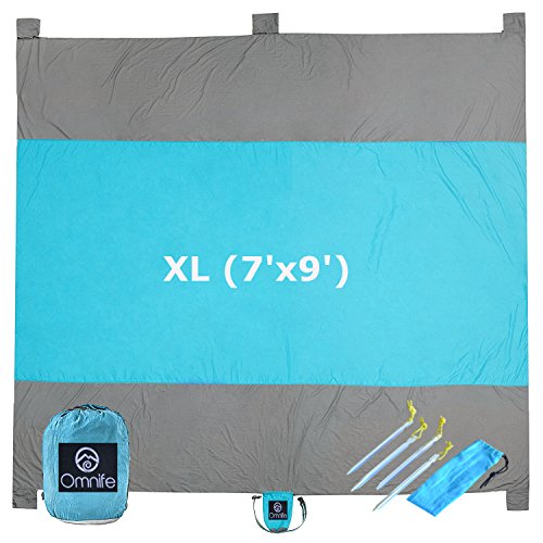 Omnife Oversized Sand Free Beach Blanket (XL - 7'x9') 100% Parachute Nylon - Include 6 Built-in Sand Pockets + 4 Anchor Loops and Metal Stakes ()