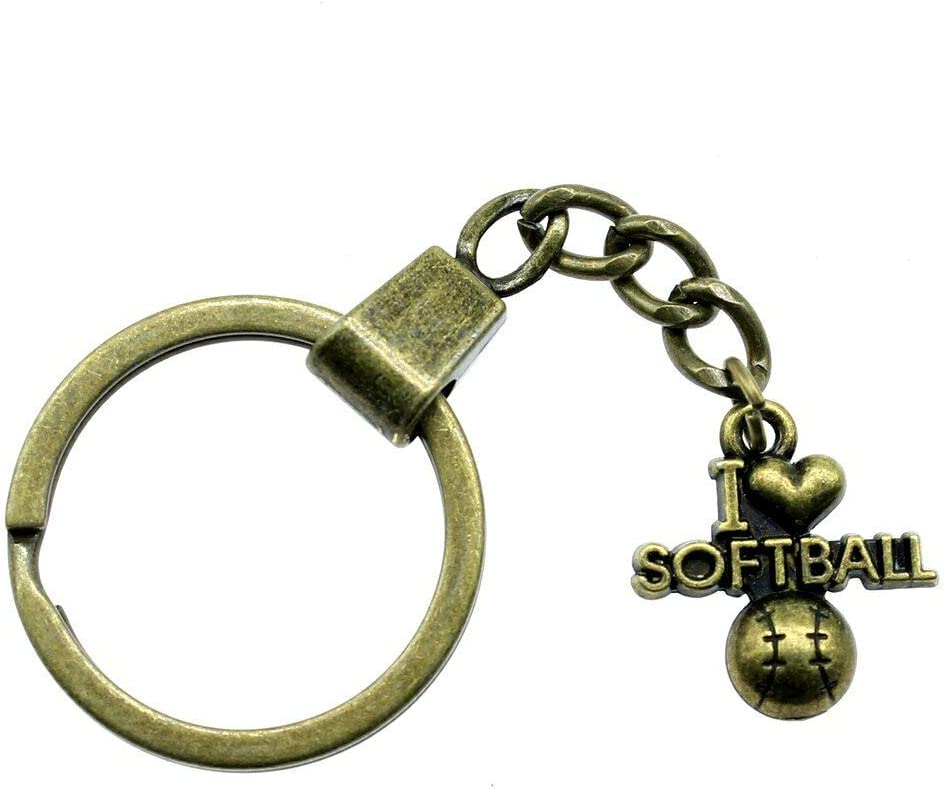 ZHTTCD Keyring 20x19mm I Love Softball Antique Bronze Antique Silver Color Men Jewelry Car Key Chain Ring Holder Souvenir Gift