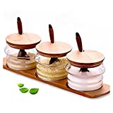 Spice Jars Glass Seasoning Box Set Salt Sugar Spice Pepper Condiment Container Kitchen Cruet Seasonings Tools with bamboo Spoon Cover Pedestal, Set of 3 (3)