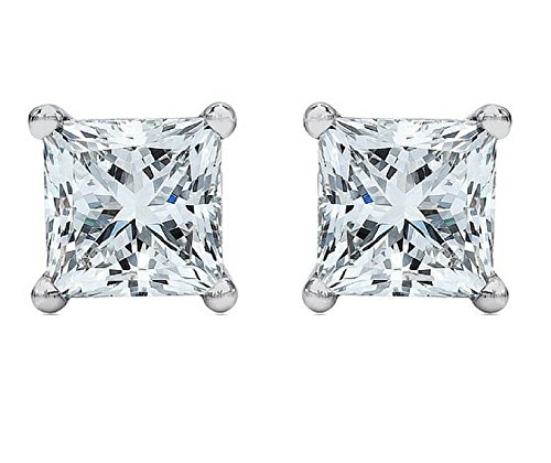 4.0 ct Princess Brilliant Cut Simulated Diamond CZ Solitaire Stud Earrings in 14k White Gold Push (Brilliant Cut Gold Earrings)