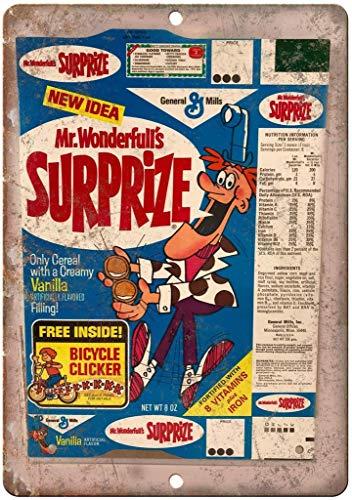 """Hugh Mr. Wonderfulls Suprize Vintage Cereal Box 12"""" x 8"""" Reproduction Metal Sign"""