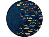 Art Carpet Seaport Collection Fish School Woven Round Area Rug, Round 7'10'', Navy Blue/Red/Light Green