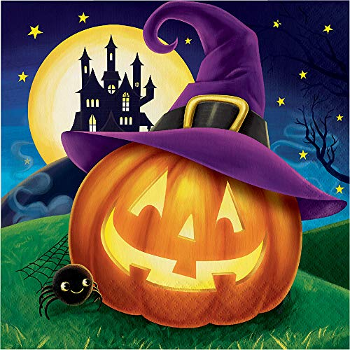 Club Pack of 192 Orange and Purple Pumpkin 2-ply Halloween Luncheon Napkins 6.5
