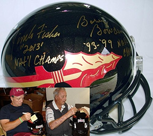 Coach Bobby Bowden and Coach Jimbo Fisher Hand Signed Autographed Black Florida State FSU Seminoles Authentic Proline Football Helmet