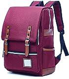 Apiidoo Unisex Vintage Rucksack Canvas Backpack Travel Daypack Laptop Bookbag Burgundy For Sale