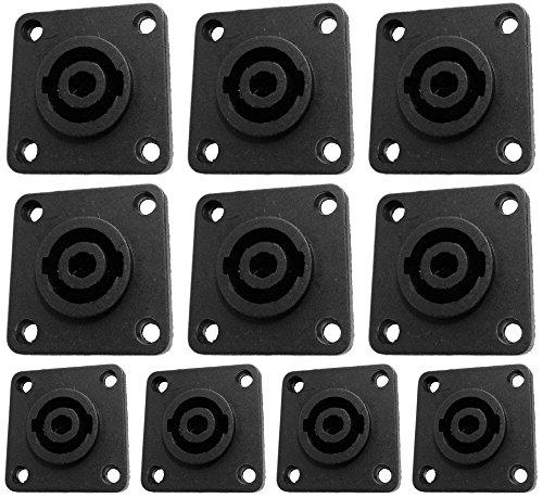 (CESS Speaker Jack Twist Lock 4 Pole Square (Rectangle) - Speakon Female Socket Panel/Chassis Mount - Compatible with Neutrik Speakon NL4MP, NL4MPR, NL4FC, NL4FX, NLT4X, NL4 Serie (jgc) (10 Pack))