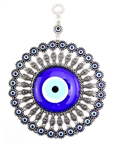 - LUCKYMOJO D6.5 inches/16.5cm Big Sunshine Design Evil Eye Amulet Wall Hanging Home/Office Decor