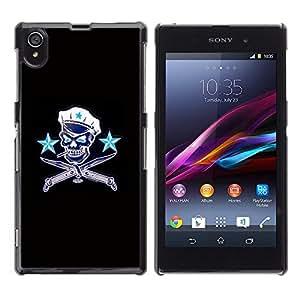 Shell-Star Art & Design plastique dur Coque de protection rigide pour Cas Case pour Sony Xperia Z1 / L39H / C6902 / C6903 / C6906 / C6916 / C6943 ( Communist Russia Skull Captain Sailor )